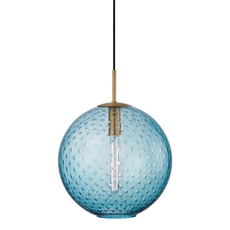 Hudson Valley Lighting 2015-AGB-BL Rousseau 1 Light Pendant-Blue Glass in Aged Brass