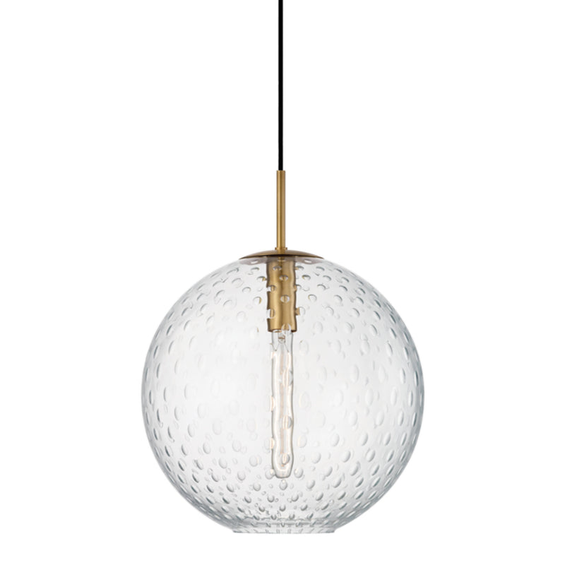 Hudson Valley Lighting 2015-AGB-CL Rousseau 1 Light Pendant-Clear Glass in Aged Brass