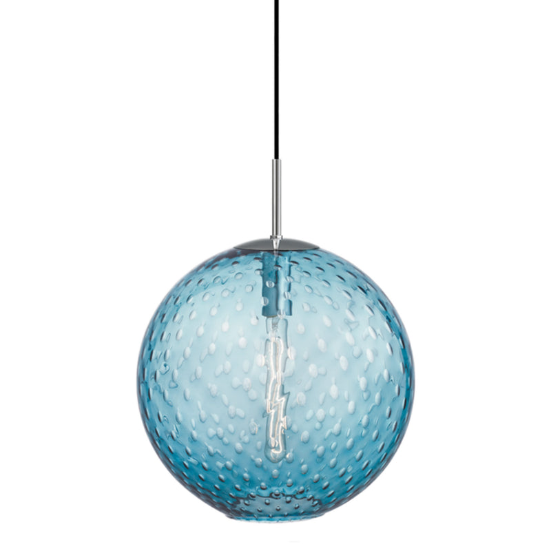 Hudson Valley Lighting 2015-PC-BL Rousseau 1 Light Pendant-Blue Glass in Polished Chrome