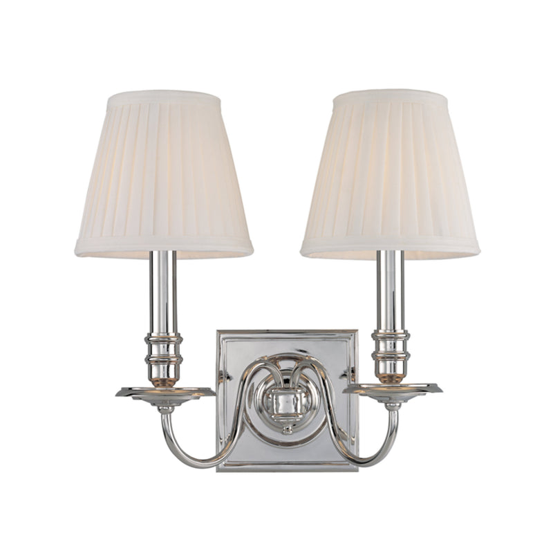 Hudson Valley Lighting 202-PN Sheldrake 2 Light Wall Sconce in Polished Nickel