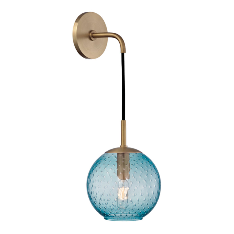 Hudson Valley Lighting 2020-AGB-BL Rousseau 1 Light Wall Sconce-Blue Glass in Aged Brass