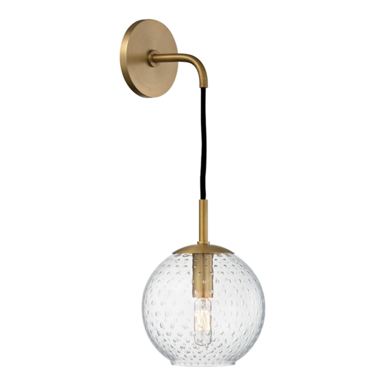 Hudson Valley Lighting 2020-AGB-CL Rousseau 1 Light Wall Sconce-Clear Glass in Aged Brass