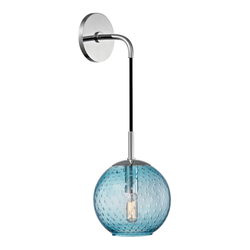 Hudson Valley Lighting 2020-PC-BL Rousseau 1 Light Wall Sconce-Blue Glass in Polished Chrome