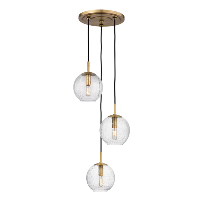 Hudson Valley Lighting 2033-AGB-CL Rousseau 3 Light Pendant With Clear Glass in Aged Brass