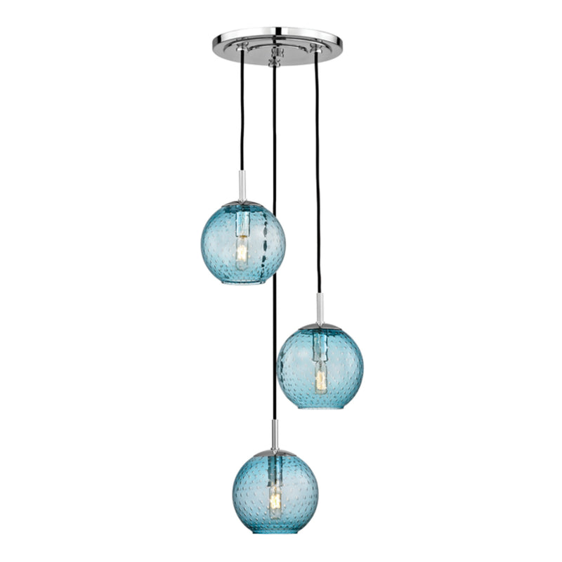 Hudson Valley Lighting 2033-PC-BL Rousseau 3 Light Pendant With Blue Glass in Polished Chrome