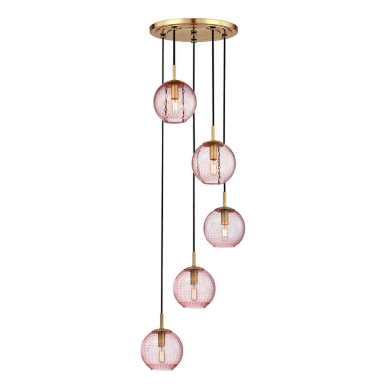 Hudson Valley Lighting 2035-AGB-PK Rousseau 5 Light Pendant With Pink Glass in Aged Brass
