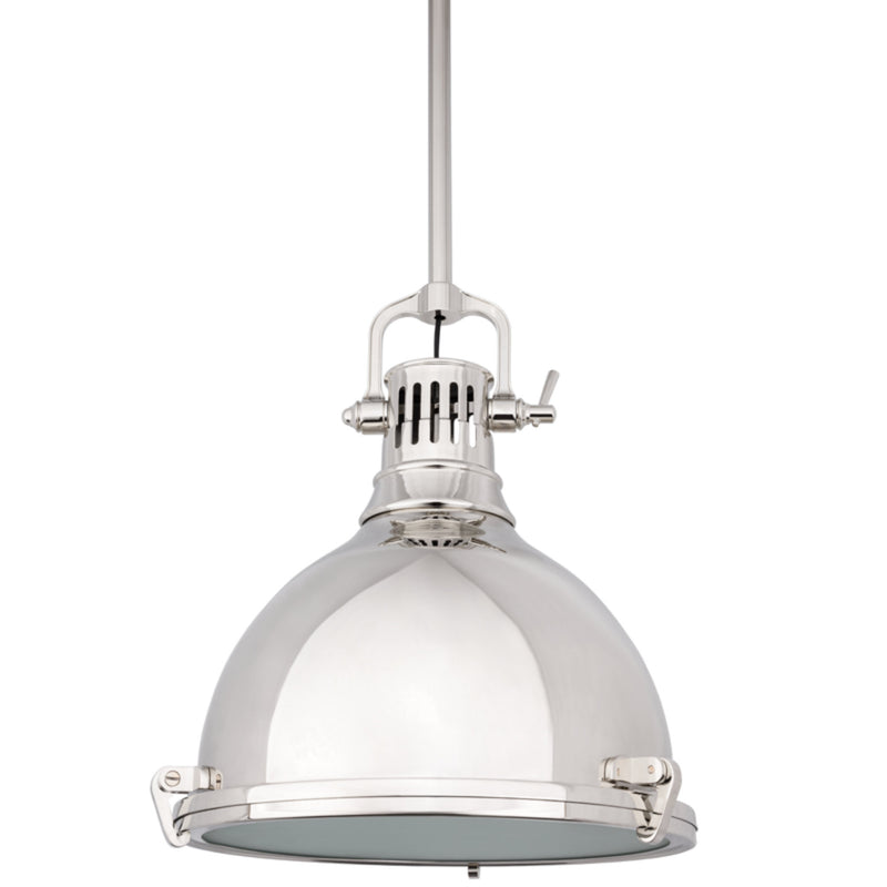 Hudson Valley Lighting 2212-PN Pelham 1 Light Pendant in Polished Nickel