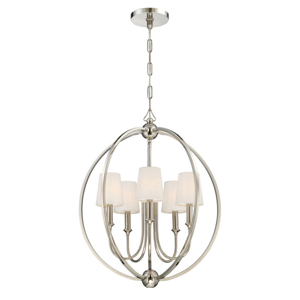 Crystorama 2247-PN Sylvan Chandelier in Polished Nickel