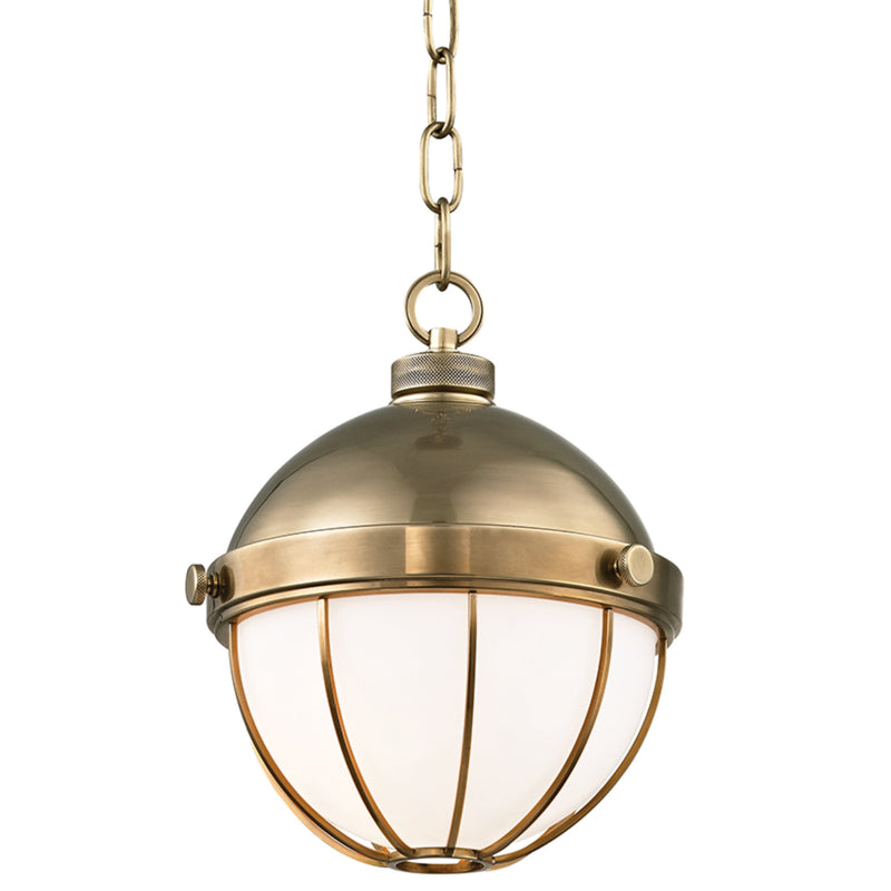 Hudson Valley Lighting 2309-AGB Sumner 1 Light Pendant in Aged Brass