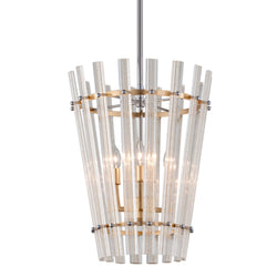 Corbett Lighting 239-44 Sauterne 4lt Pendant in Crafted Iron And Stainless