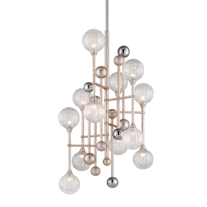 Corbett Lighting 241-012 Majorette 12lt Pendant in Crafted Iron And Stainless