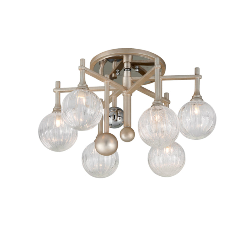 Corbett Lighting 241-36 Majorette 6lt Semi Flush in Crafted Iron And Stainless