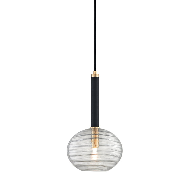 Hudson Valley Lighting 2410-AGB Breton 1 Light Pendant in Aged Brass