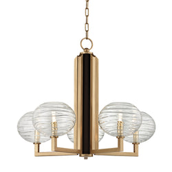 Hudson Valley Lighting 2415-AGB Breton 5 Light Chandelier in Aged Brass
