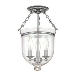 Hudson Valley Lighting 251-PN-C1 Hampton 3 Light Semi Flush in Polished Nickel
