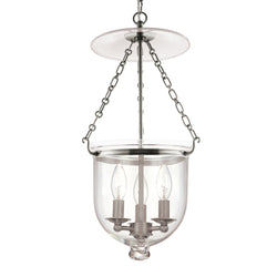 Hudson Valley Lighting 254-PN-C1 Hampton 3 Light Pendant in Polished Nickel
