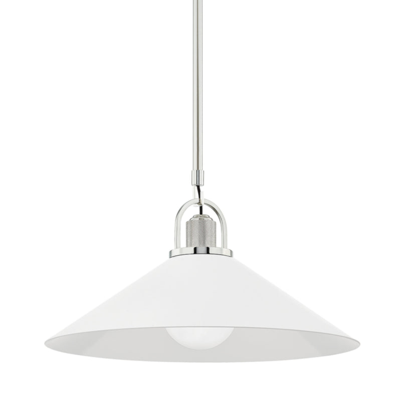 Hudson Valley Lighting 2620-PN/WH Syosset 1 Light Large Pendant in Polished Nickel/White