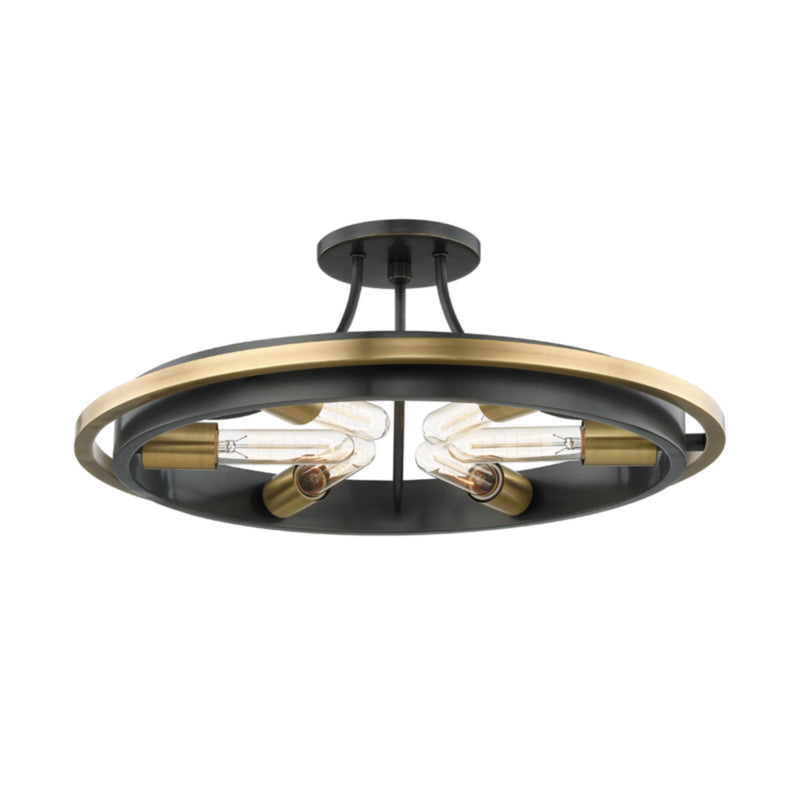 Hudson Valley Lighting 2721-AOB Chambers 6 Light Flush Mount in Aged Old Bronze