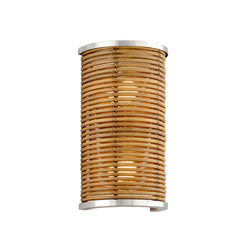 Corbett Lighting 277-12 Carayes 2lt Wall Sconce in Rattan And Stainless Steel