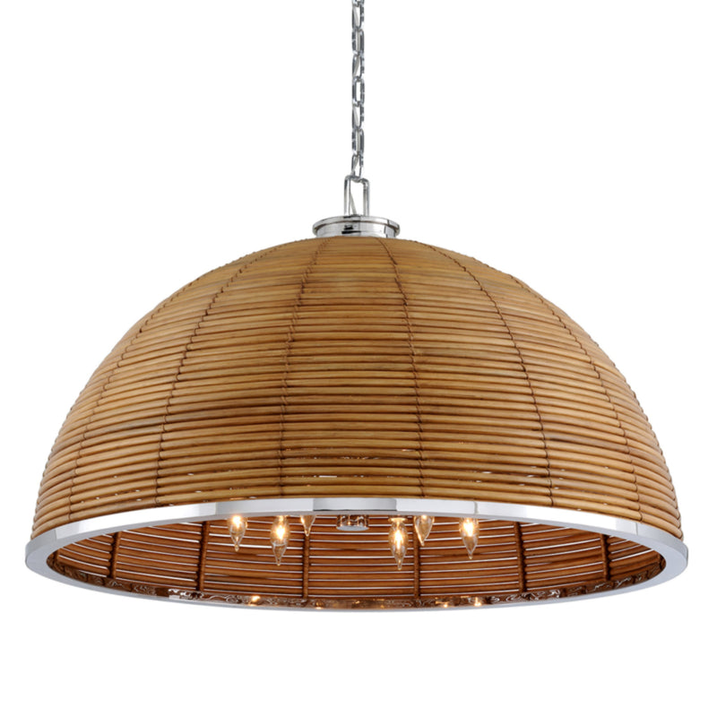 Corbett Lighting 277-412 Carayes 12lt Chandelier in Rattan And Stainless Steel