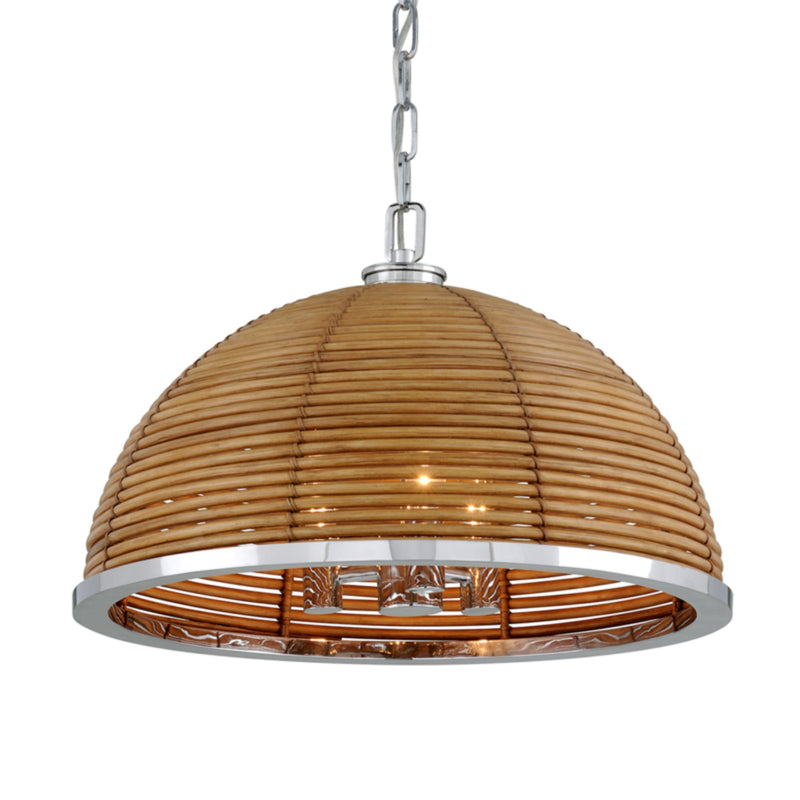 Corbett Lighting 277-43 Carayes 3lt Chandelier in Rattan And Stainless Steel