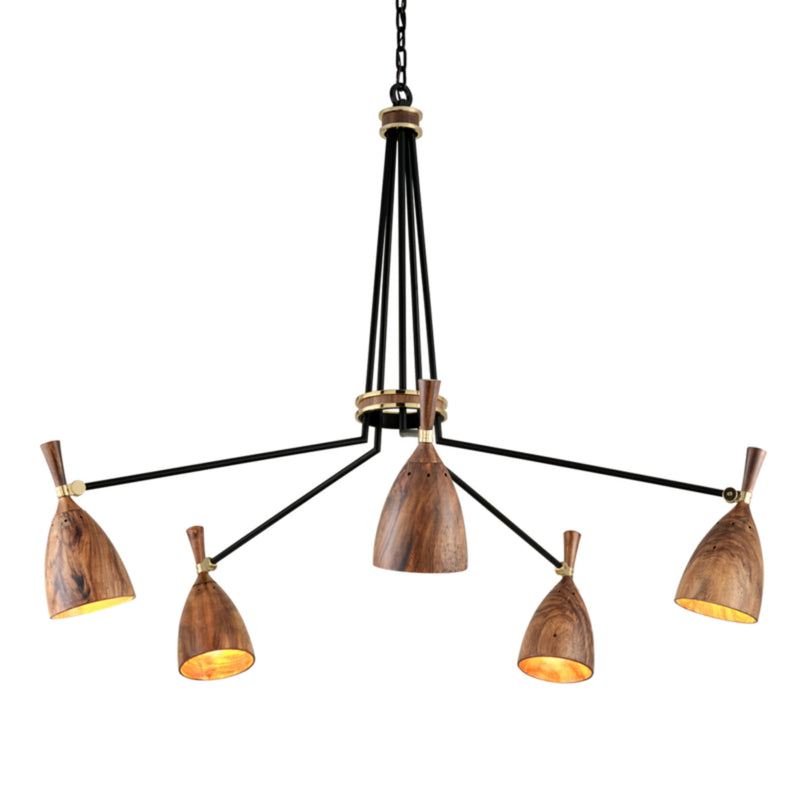 Corbett Lighting 280-05 Utopia 5lt Chandelier in Hand Crafted Iron And Acacia