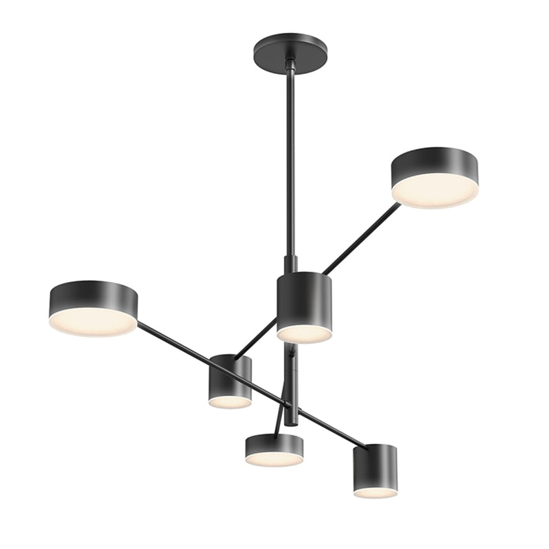 Sonneman 2883.25 Counterpoint 6-Light LED Pendant in Satin Black