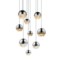 Sonneman 2916.01-AST Grapes 9-Light Round Assorted LED Pendant in Polished Chrome