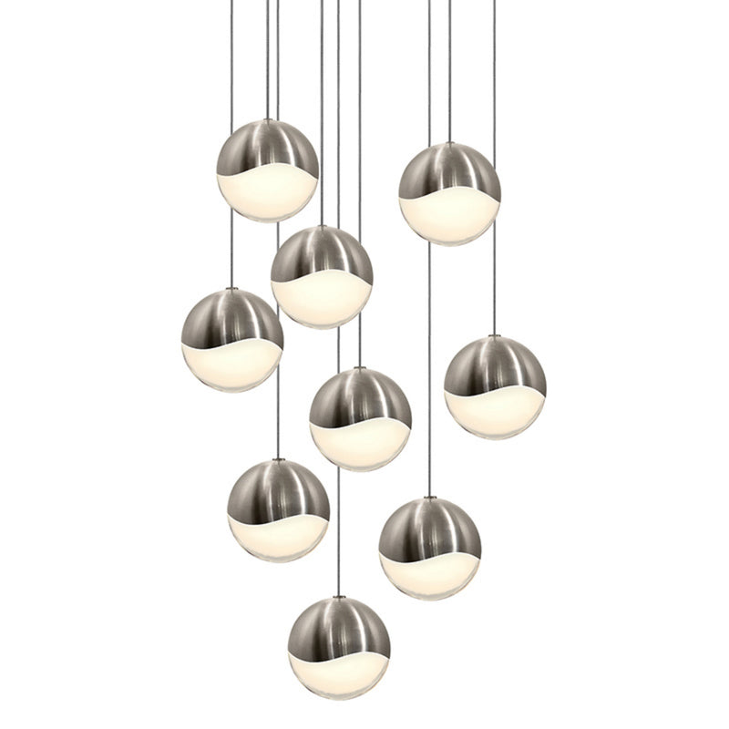 Sonneman 2916.13-LRG Grapes 9-Light Round Large LED Pendant in Satin Nickel