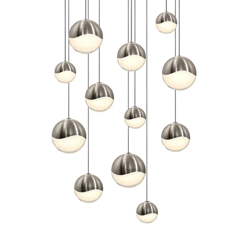 Sonneman 2917.13-AST Grapes 12-Light Round Assorted LED Pendant in Satin Nickel