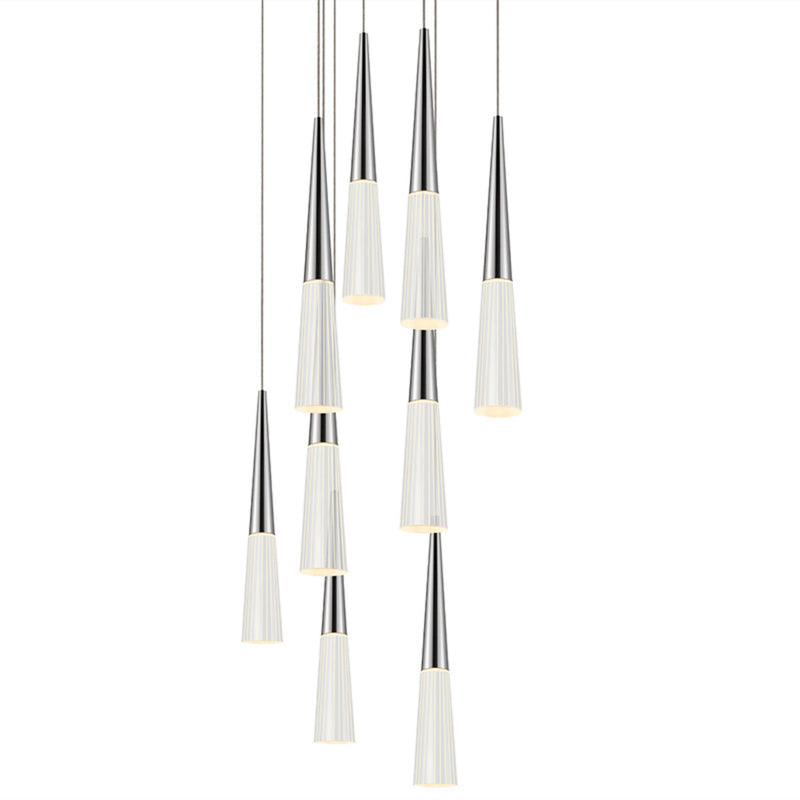 Sonneman 2944.01 Spire 9-Light Round LED Pendant in Polished Chrome