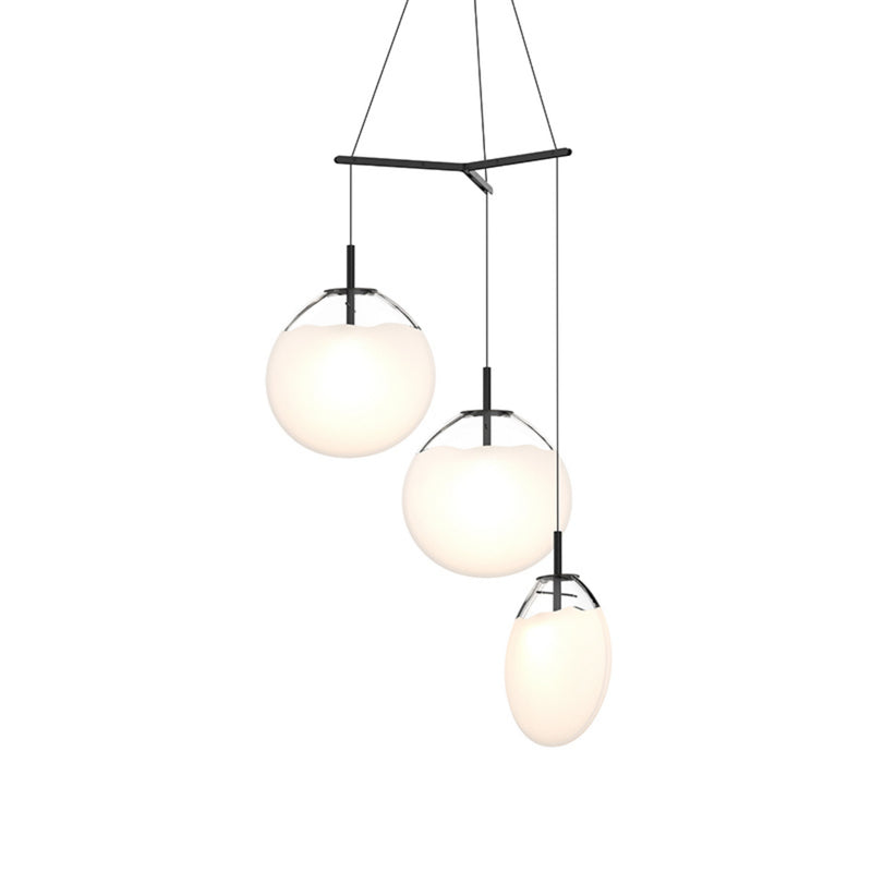 Sonneman 2995.25W-LRG Cantina Large 3-Light Tri-Spreader LED Pendant in Satin Black