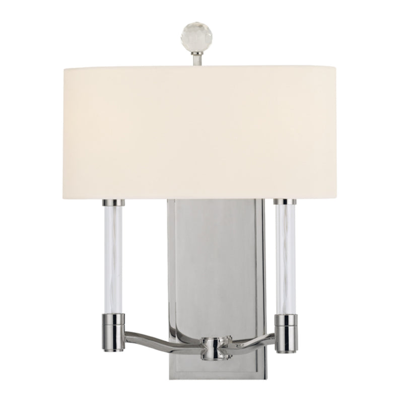 Hudson Valley Lighting 3002-PN Waterloo 2 Light Wall Sconce in Polished Nickel
