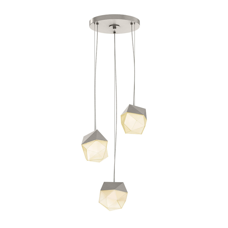 Sonneman 3003.13-SML Facets 3-Light Round Small LED Pendant in Satin Nickel