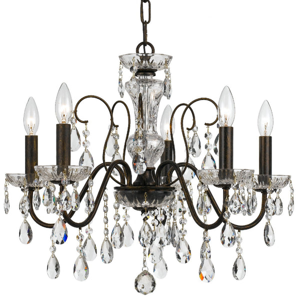 Crystorama 3025-EB-CL-MWP Butler Chandelier in English Bronze