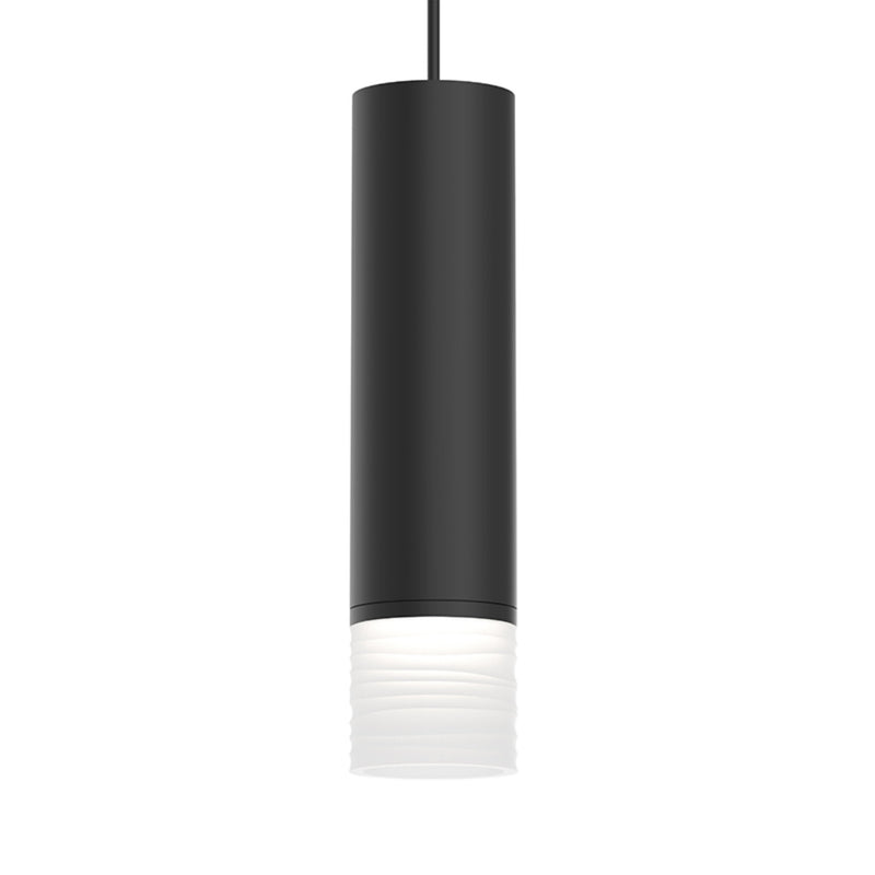 "Sonneman 3058.25-FK25 ALC 3"" Medium LED Pendant w/ Etched Ribbon Glass Trim and 25i Narrow Flood Lens in Satin Black"