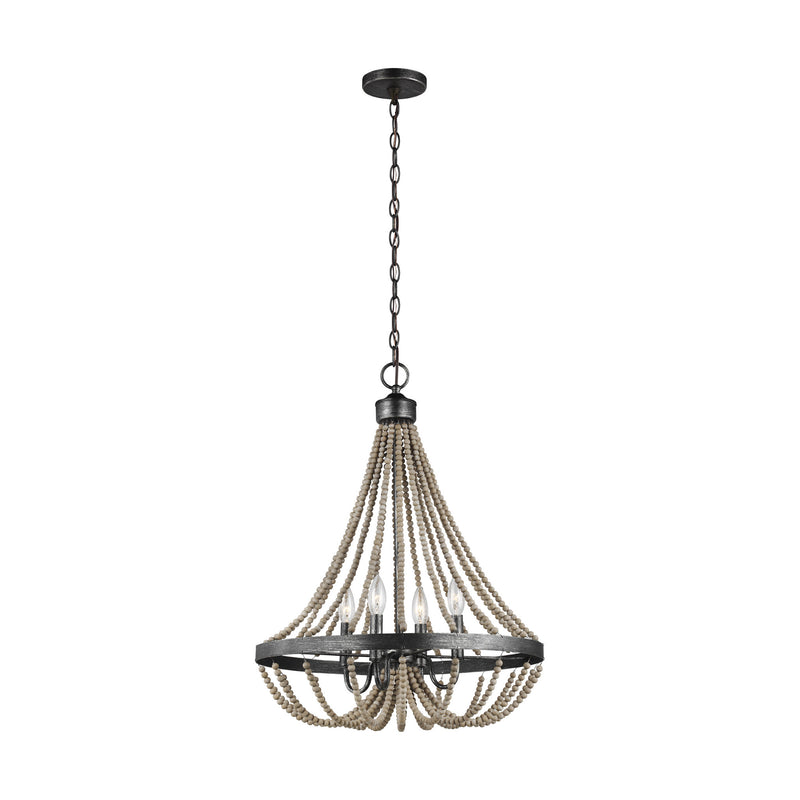 Generation Lighting 3101904-872 Sea Gull Oglesby 4 Light Chandelier in Washed Pine / Stardust