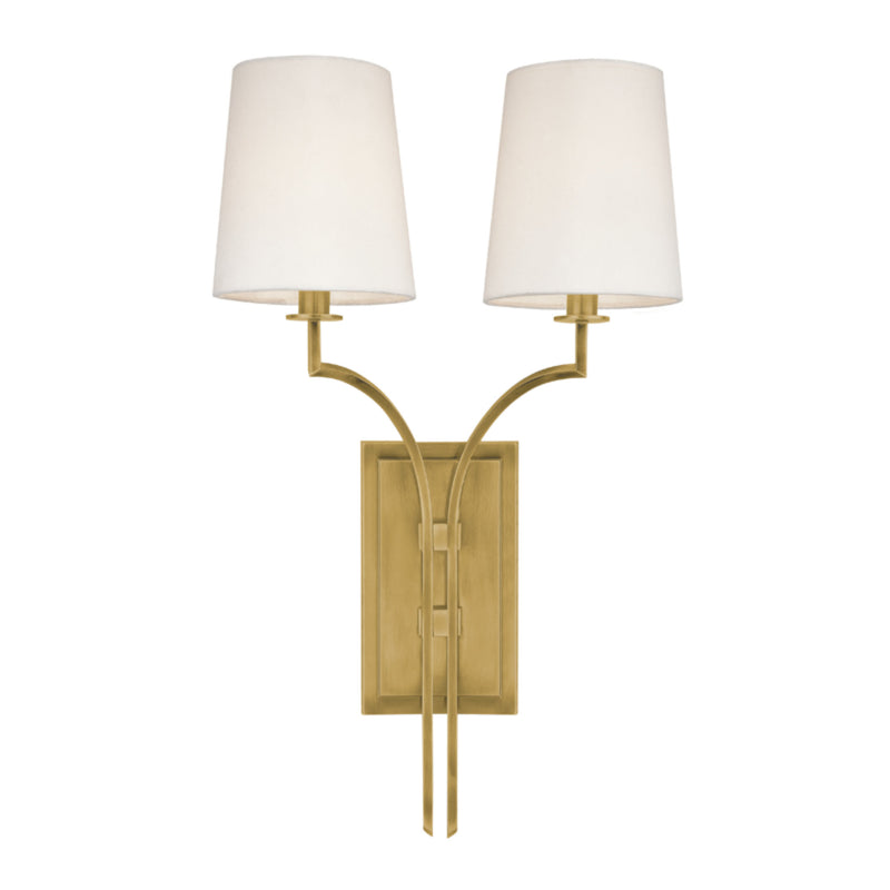 Hudson Valley Lighting 3112-AGB Glenford 2 Light Wall Sconce in Aged Brass
