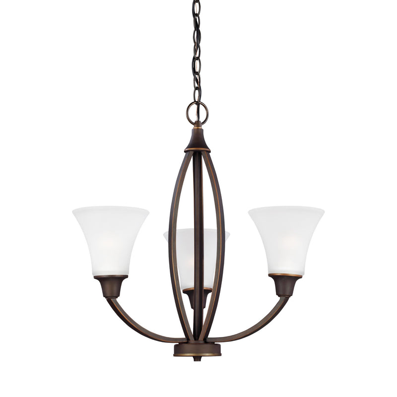 Generation Lighting 3113203-715 Sea Gull Metcalf 3 Light Chandelier in Autumn Bronze