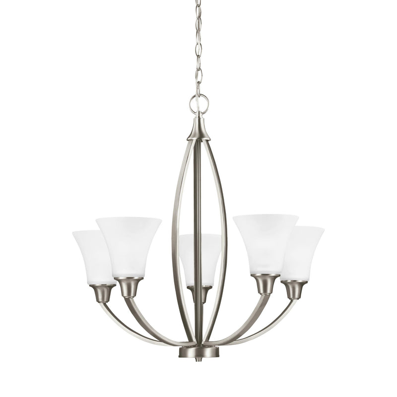 Generation Lighting 3113205EN3-962 Sea Gull Metcalf 5 Light Chandelier in Brushed Nickel