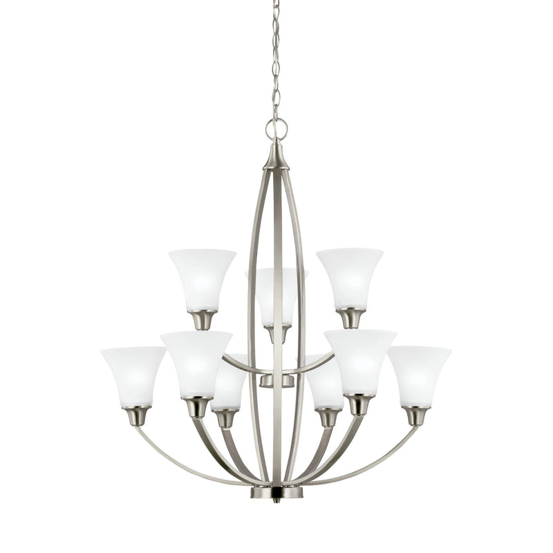 Generation Lighting 3113209-962 Sea Gull Metcalf 9 Light Chandelier in Brushed Nickel