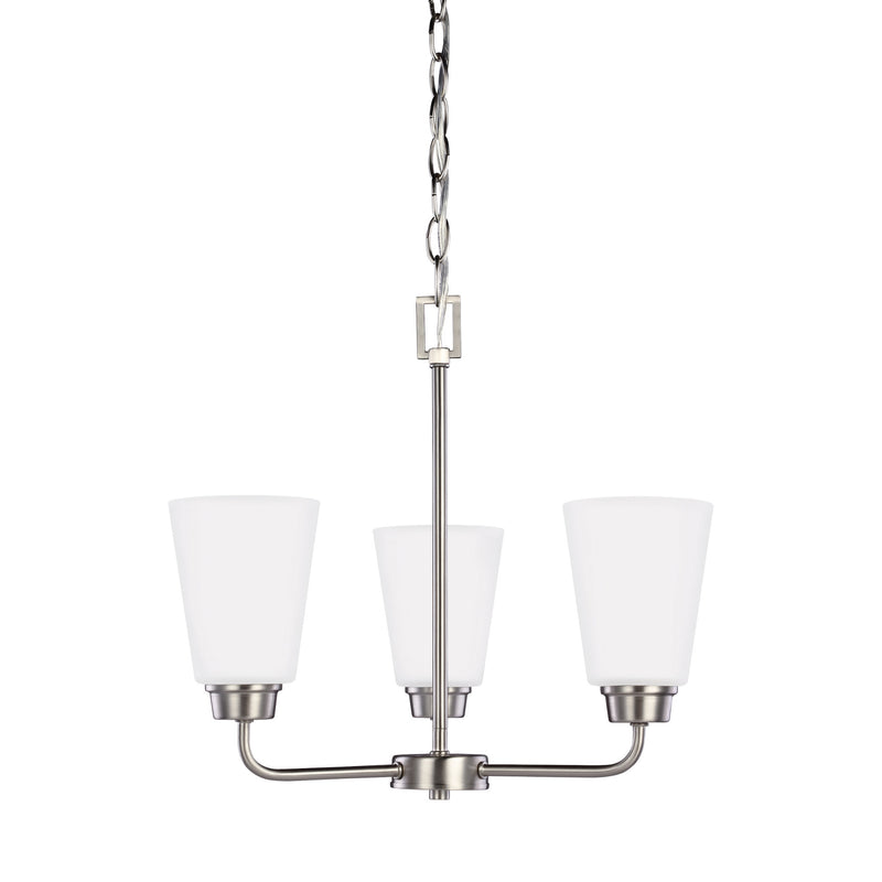Generation Lighting 3115203-962 Sea Gull Kerrville 3 Light Chandelier in Brushed Nickel