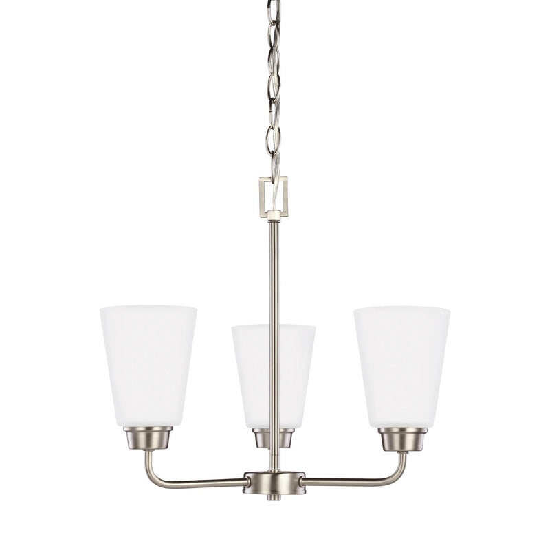 Generation Lighting 3115203EN3-962 Sea Gull Kerrville 3 Light Chandelier in Brushed Nickel