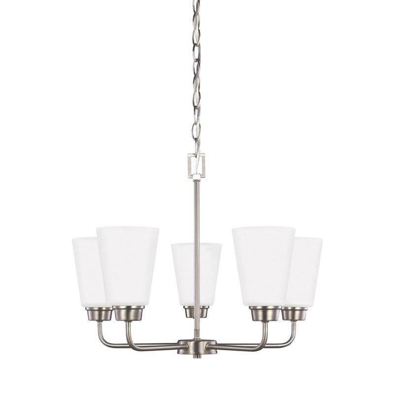 Generation Lighting 3115205EN3-962 Sea Gull Kerrville 5 Light Chandelier in Brushed Nickel