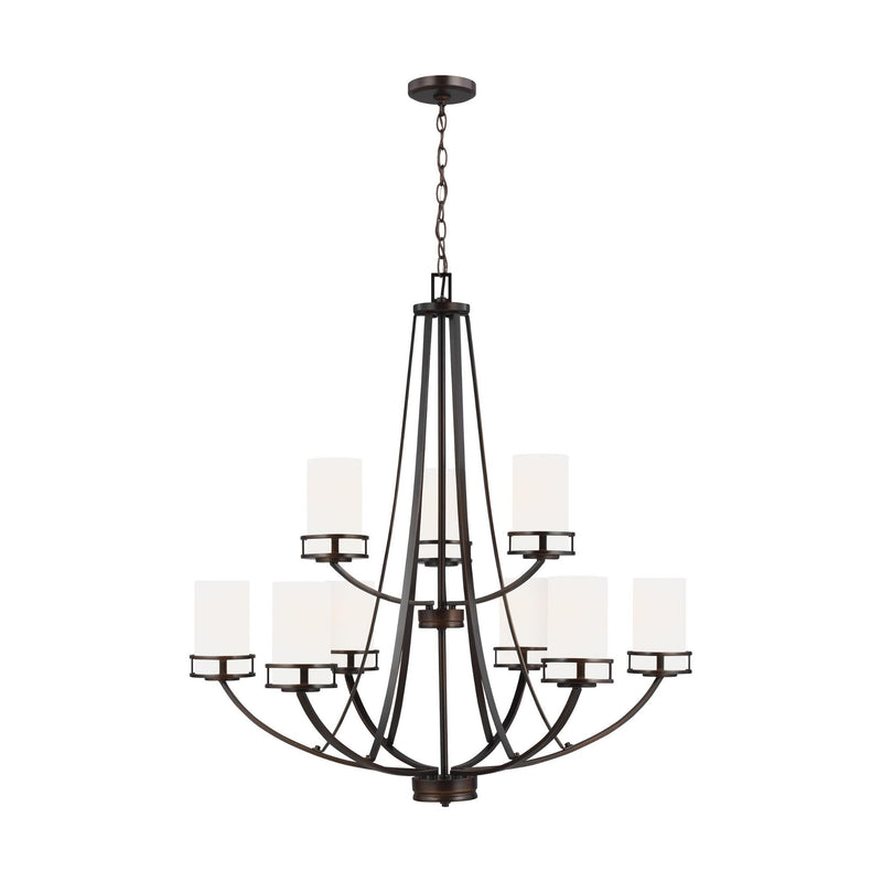 Generation Lighting 3121609-710 Sea Gull Robie 9 Light Chandelier in Burnt Sienna