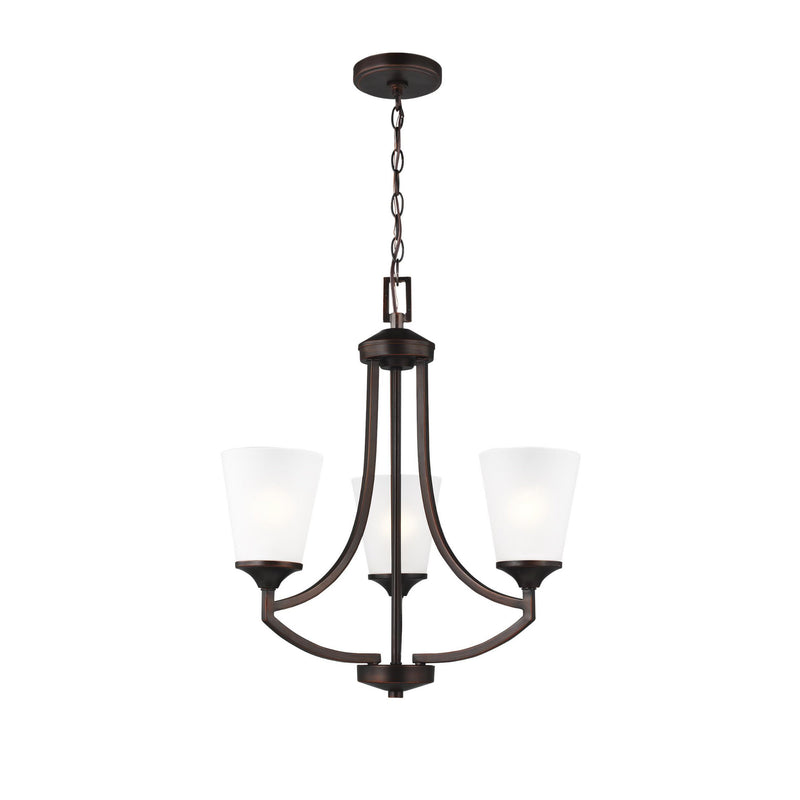 Generation Lighting 3124503-710 Sea Gull Hanford 3 Light Chandelier in Burnt Sienna