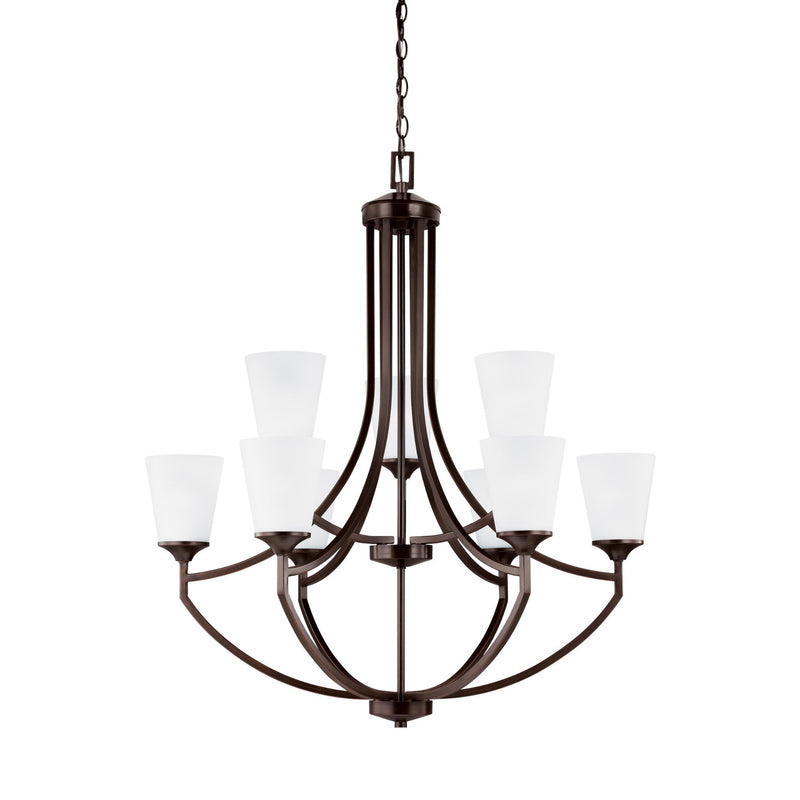 Generation Lighting 3124509EN3-710 Sea Gull Hanford 9 Light Chandelier in Burnt Sienna