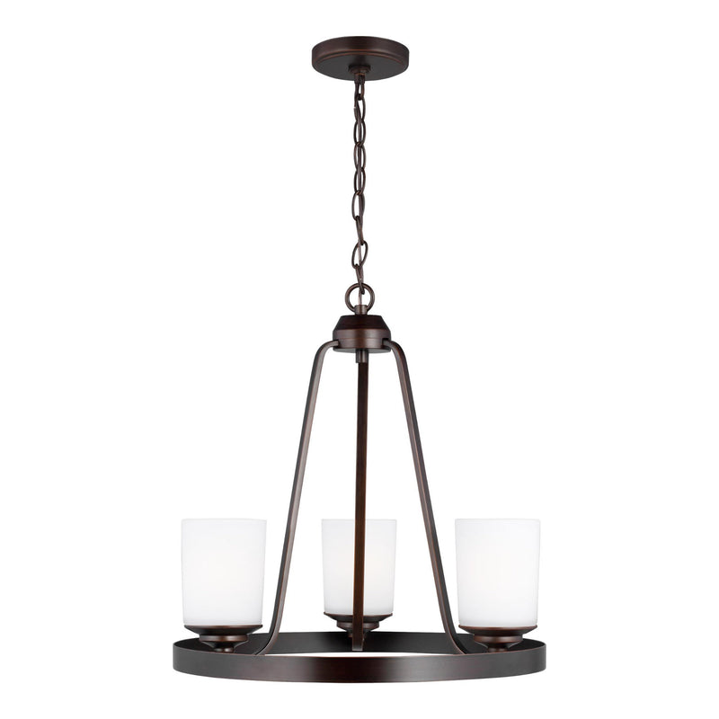 Generation Lighting 3130703-710 Sea Gull Kemal 3 Light Chandelier in Burnt Sienna
