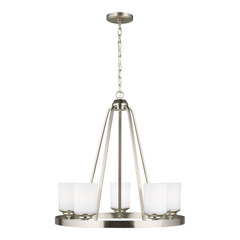 Generation Lighting 3130705EN3-962 Sea Gull Kemal 5 Light Chandelier in Brushed Nickel