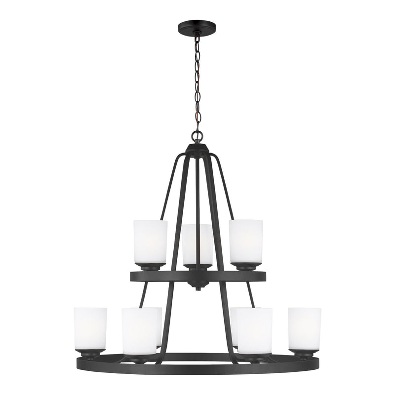 Generation Lighting 3130709-112 Sea Gull Kemal 9 Light Chandelier in Midnight Black